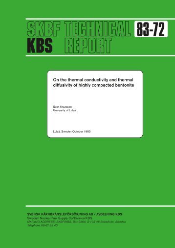 On the thermal conductivity and thermal diffusivity of highly ... - SKB