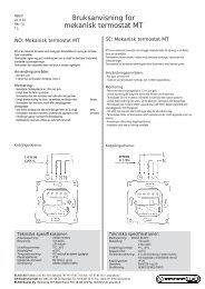 Bruksanvisning for mekanisk termostat MT - Elko AS