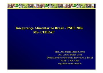 Insegurança Alimentar no Brasil - PNDS 2006 MS- CEBRAP - Epi2008