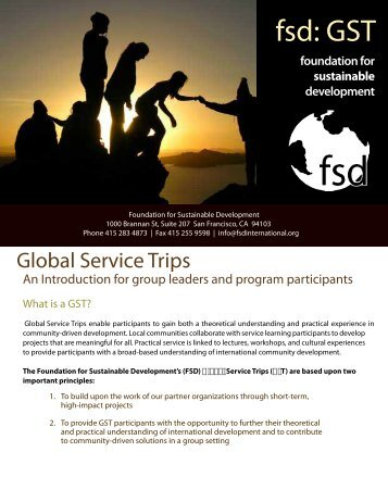 Global Service Trips - Foundation for Sustainable Development