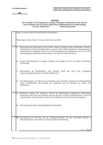 HS 002 Antrag auf Annahme einer Werthinterlegung - Amtsgericht ...