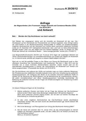 Anfrage und Antwort - Hamburg-Mitte-Dokumente