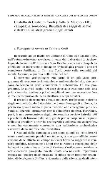 Castello di Castrum Coeli - Istituto Universitario Suor Orsola ...