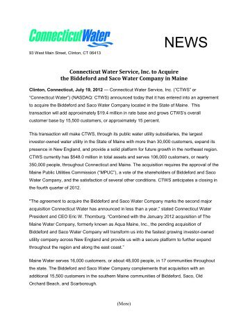 Connecticut Water Service, Inc. to Acquire Biddeford and Saco ...