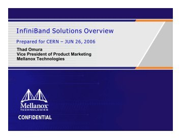 InfiniBand Solutions Overview - CERN openlab