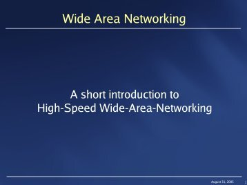 Wide Area Networking - CERN openlab