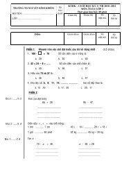 Đề kiểm tra cuối kỳ 1 khối 2 - Nguyễn Bỉnh Khiêm