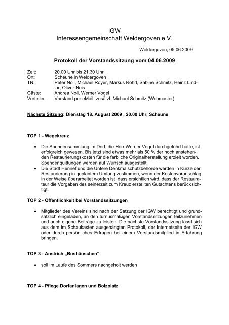 4. Juni 2009 - Protokoll der Vorstandssitzung - Weldergoven