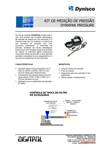 KIT DE MEDIÇÃO DE PRESSÃO DYNXPAK PRESSURE - Digitrol