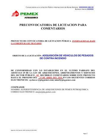 preconvocatoria de licitacion para comentarios - Pemex Petroquímica