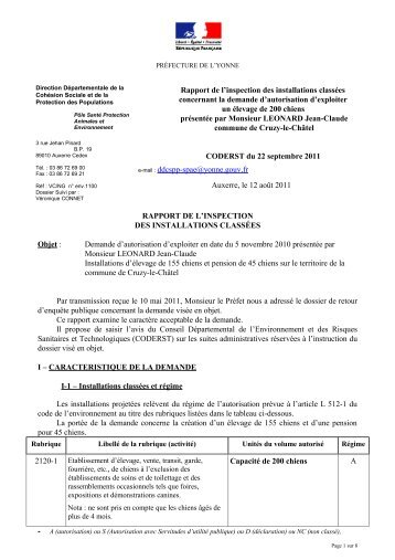 rapport inspecteur - 0,20 Mb - Préfecture de l'Yonne