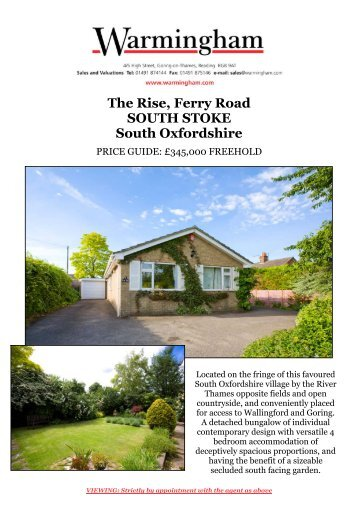 The Rise, Ferry Road SOUTH STOKE South ... - Warmingham