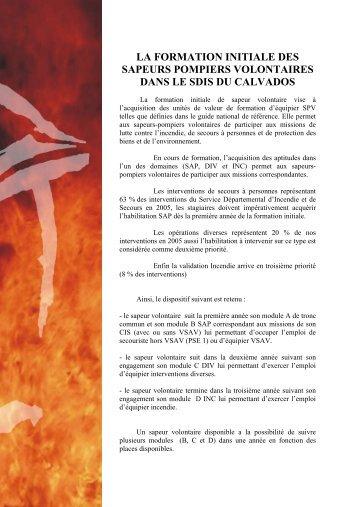 LA FORMATION INITIALE DES SAPEURS POMPIERS ... - SDIS14