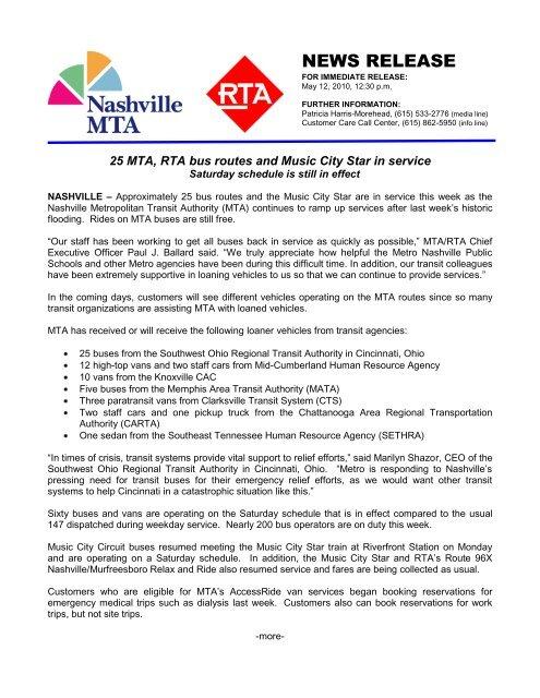 NEWS RELEASE - Nashville MTA