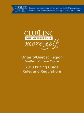 Southern Ontario Price Guide - Clublink Corporation