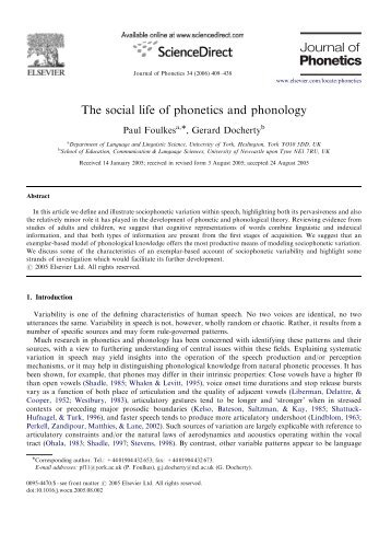 The social life of phonetics and phonology - Linguistics