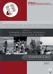 Towards a Holistic Approach to Armed Non-State - Geneva Call