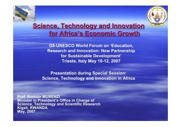 Science, Technology and Innovation for Africa's Economic Growth
