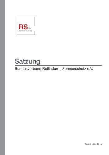 Satzung - Bundesverband Rollladen + Sonnenschutz eV