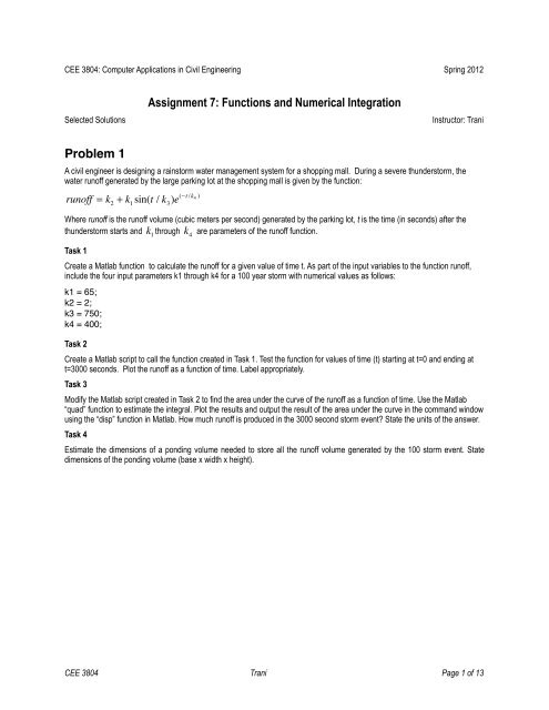 Assignment 7: Functions and Numerical Integration Problem 1
