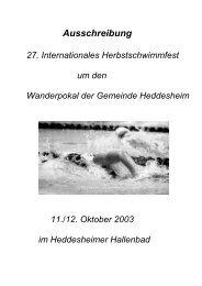 Ausschreibung - TG Heddesheim - Schwimmen