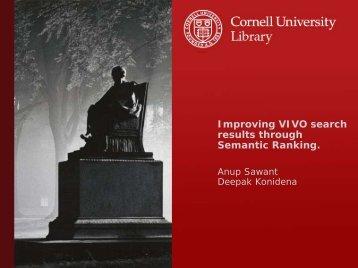Improving VIVO search results through Semantic Ranking.