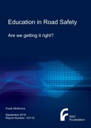 Education in road safety - report - McKenna - RAC Foundation