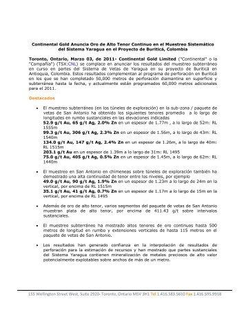 Continental Gold Anuncia Oro de Alto Tenor Continuo en el ...