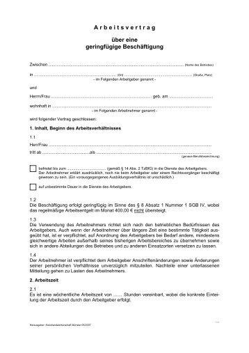 Arbeitsvertrag Fã¼r Geringfã¼gig Entlohnte Beschãftigte Ihk Berlin