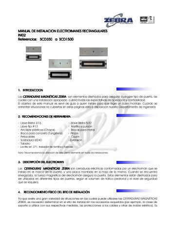 MANUAL DE INSTALACION ELECTROIMANES ... - Zebra Electronica