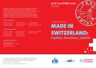 MADE IN SWITZERLAND: - Université de Neuchâtel