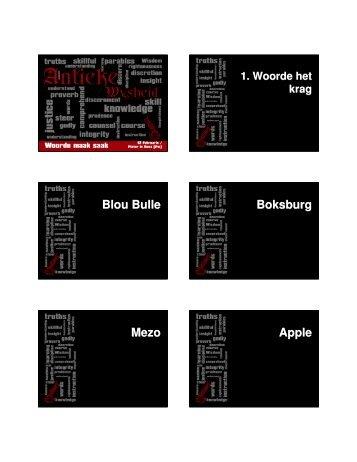 Blou Bulle Boksburg Mezo Apple - Mosaiek