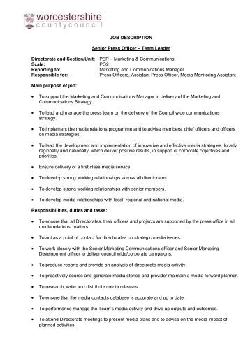 Senior Press Officer Job Description  Article