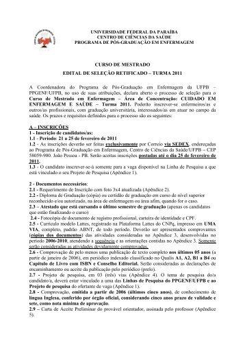 retificação do edital mestrado turma 2011 - CCS - Universidade ...