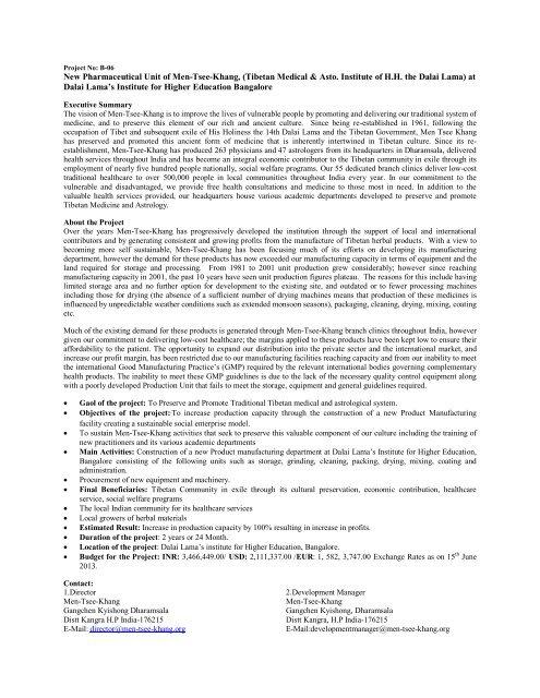 New Pharmaceutical Unit of Men-Tsee-Khang, (Tibetan Medical ...