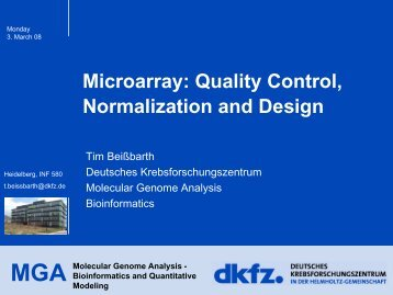 Quality control, normalization and design