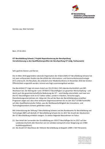 Bern, 07.02.2011 ICT-Berufsbildung Schweiz / Projekt ...