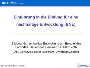 BNE-Basisinformation - Lernen durch Erleben - Projekt ...