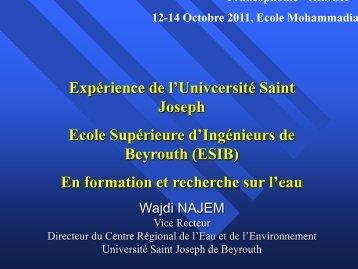 Expérience de l'université Saint-Joseph et Ecole Supérieure d ...