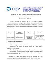 PROJETO DE EXTENSÃO - FESP