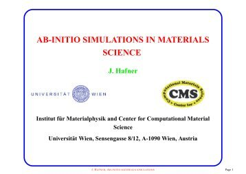 AB-INITIO SIMULATIONS IN MATERIALS SCIENCE - VASP