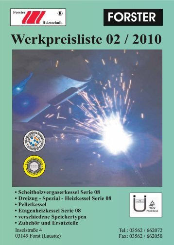 Forster Heiztechnik Preisliste Rabattliste fuer Forster Heizung ...