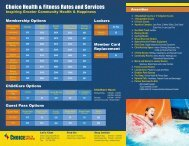 Choice Health & Fitness Rates and Services