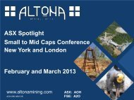 ASX Small to Mid Caps Conference Presentation - Altona Mining