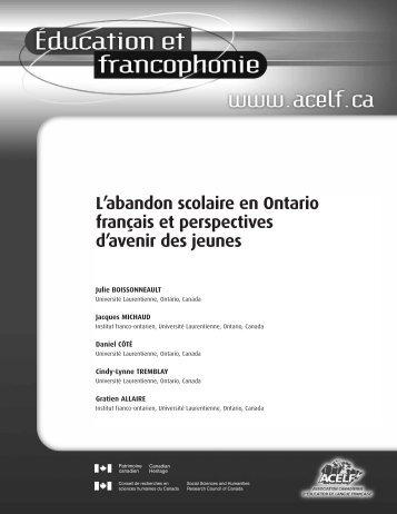 L'abandon scolaire en Ontario français et perspectives d ... - acelf