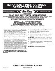 IMPORTANT INSTRUCTIONS - OPERATING MANUAL - Home Depot