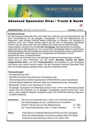 Advanced Openwater Diver / Trocki & Nacht - Tauch-Treff