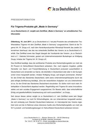 """Für Trigema-Produkte gilt """"Made in Germany"""" - Ja-zu-Deutschland.de"""