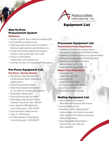 Equipment List - Associates International, Inc.
