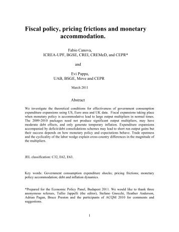 Fiscal policy, pricing frictions and monetary ... - ResearchGate